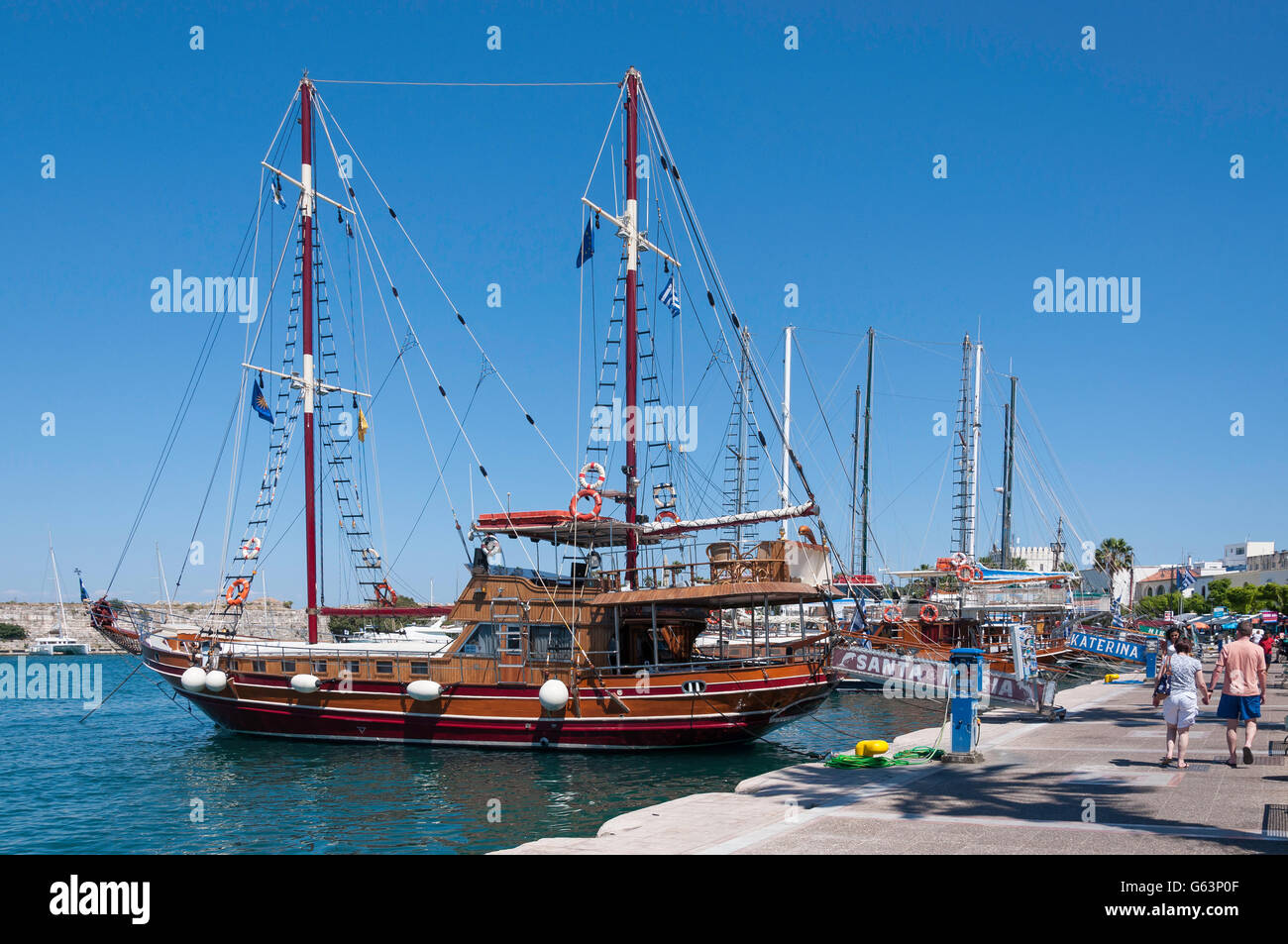 Excursion cruise ships in harbour, Kos Town, Kos (Cos), The Dodecanese, South Aegean Region, Greece - Stock Image