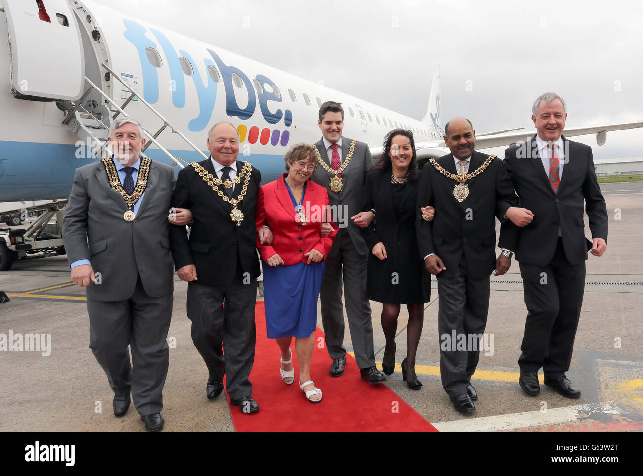 Flybe marks 30 years of operations in Northern Ireland by flying in dignitaries from five key destinations for a - Stock Image