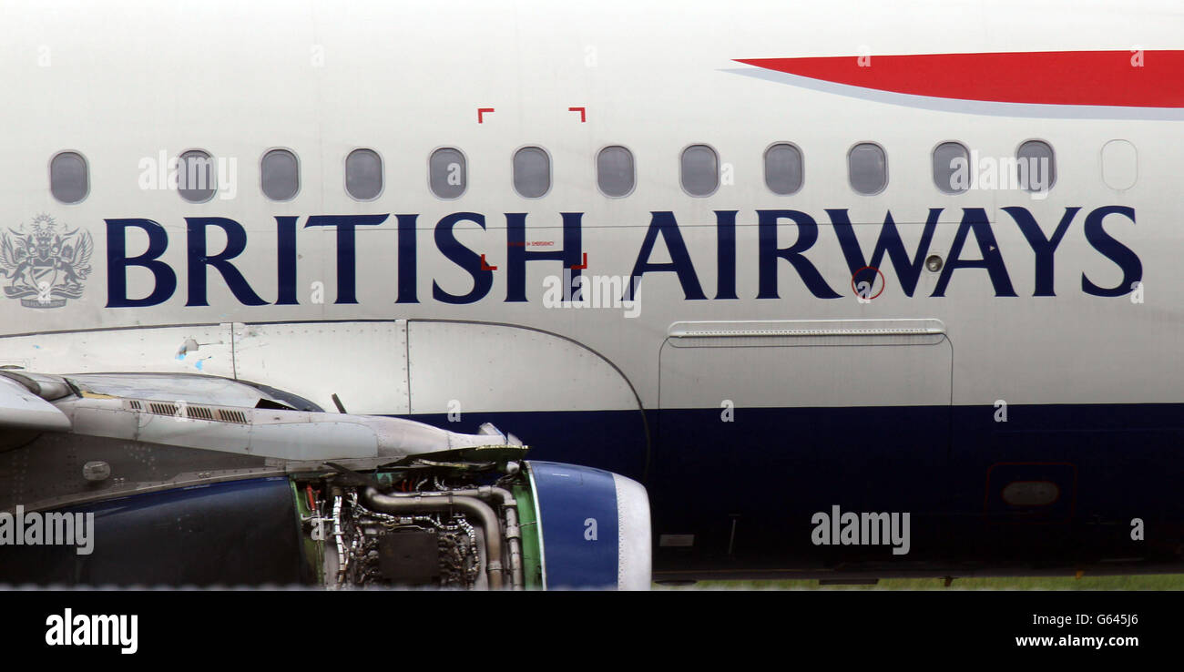 BA plane makes emergency landing - Stock Image