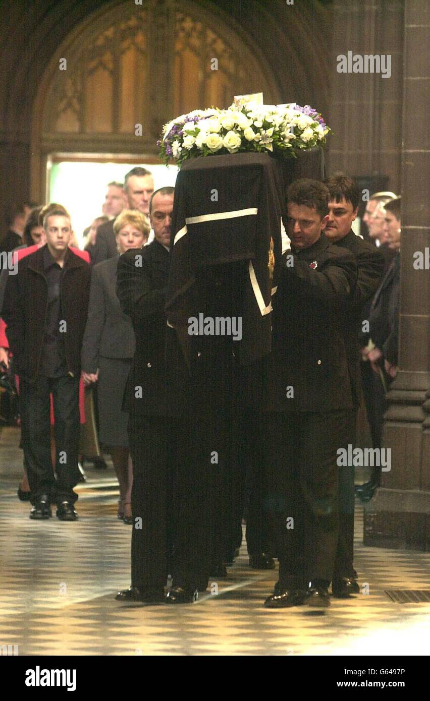 Stephen Oake funeral coffin - Stock Image