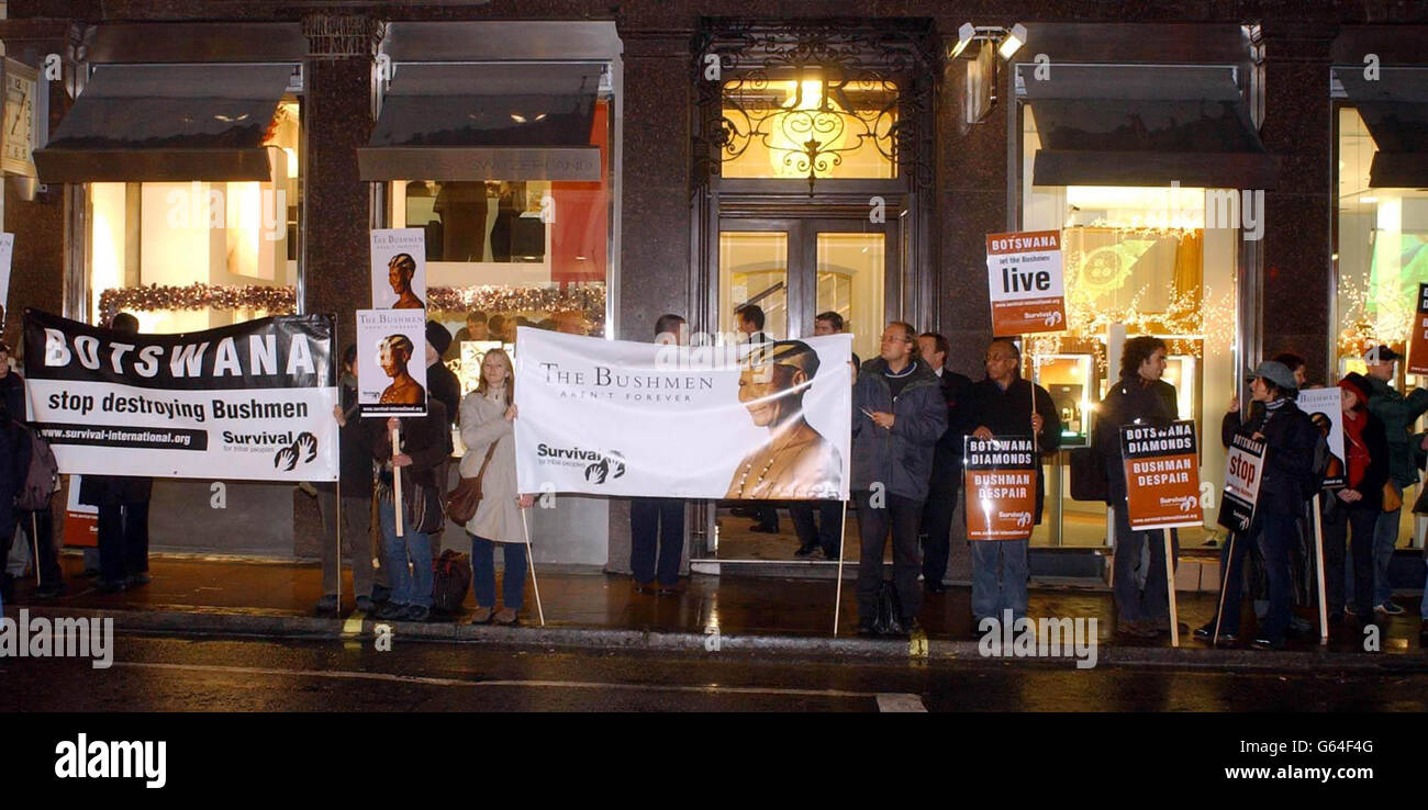 De Beers shop Botswana protest Stock Photo