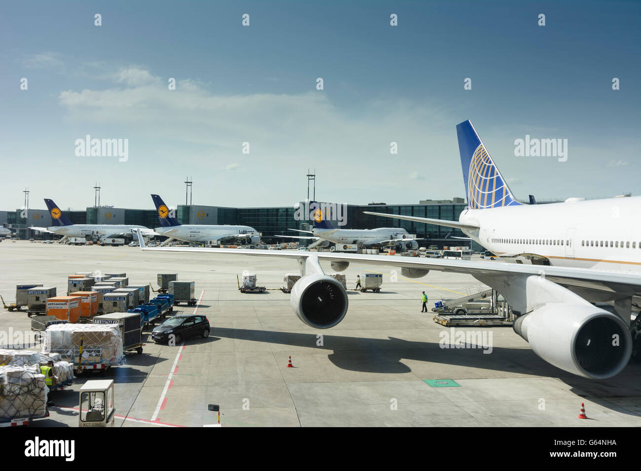 Airport : Airbus A380 and Boeing 747 Lufthansa, Frankfurt am Main, Germany, Hessen, Hesse, - Stock Image