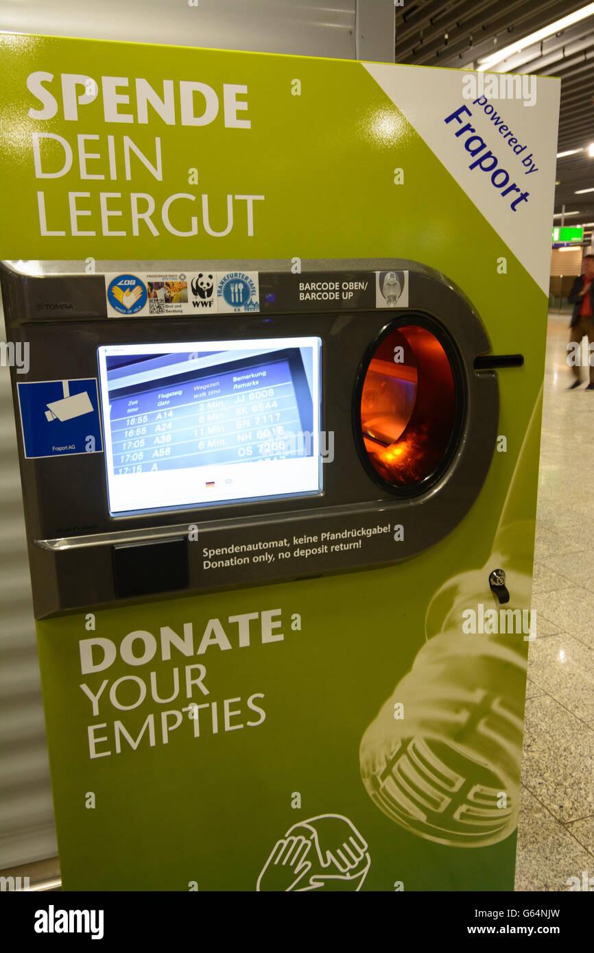 Airport : donations machine for returnable bottles, Frankfurt am Main, Germany, Hessen, Hesse, - Stock Image