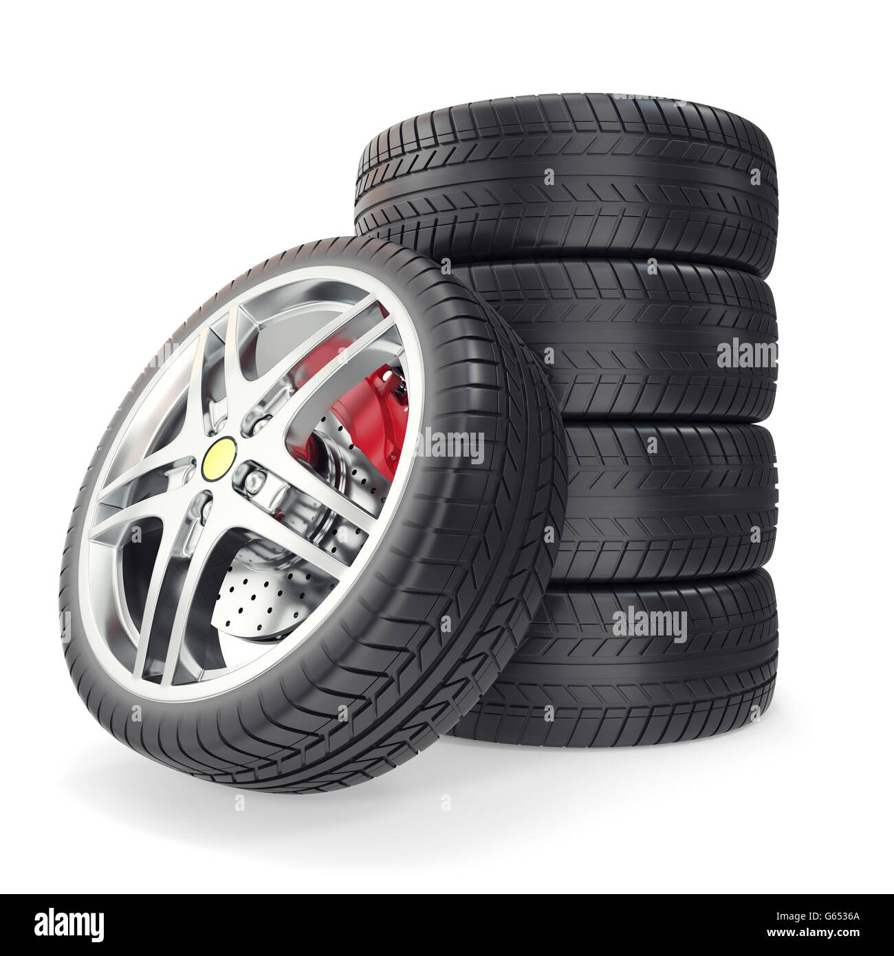 Pile Car wheels on white background. 3d illustration - Stock Image