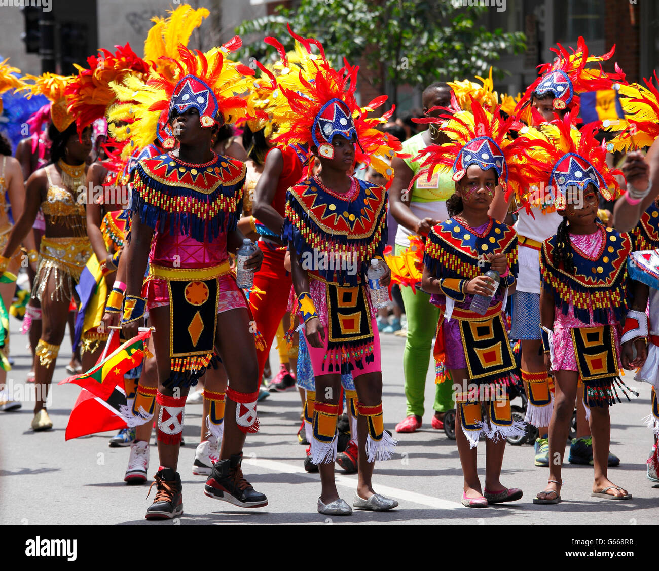 Participants of the Carifiesta parade, Caribbean Festival, Montreal, Quebec Province, Canada Stock Photo