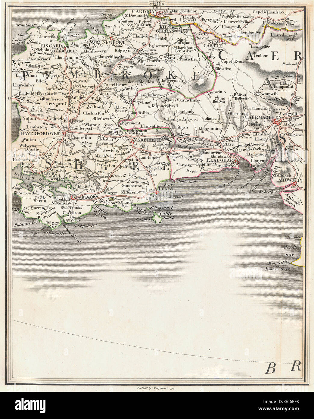 SW WALES:Cardigan Haverfordwest Tenby Pembroke Carmarthen Milford.CARY, 1794 map - Stock Image