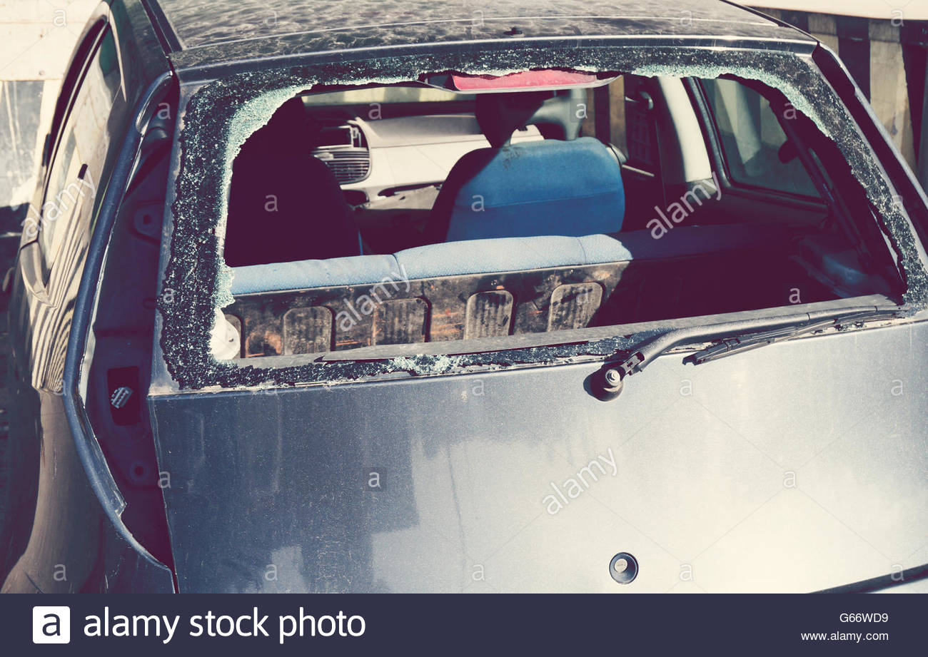 smashed rear window - Stock Image
