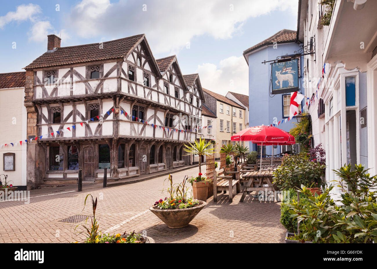 The Medieval Square In Axbridge Somerset England UK Half Timbered Building Is King Johns Hunting Lodge Now Museum