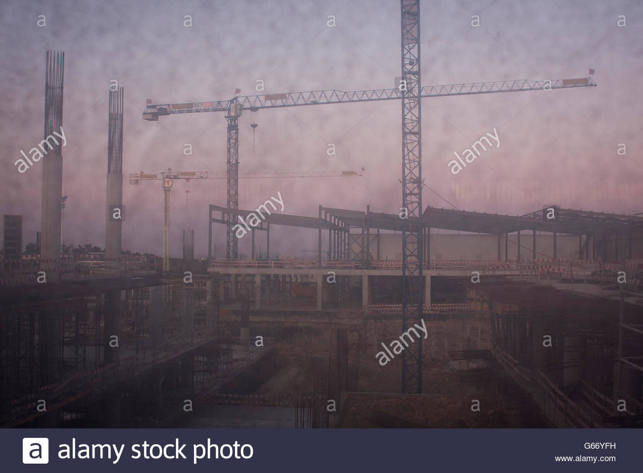 Obscure Cranes - Stock Image