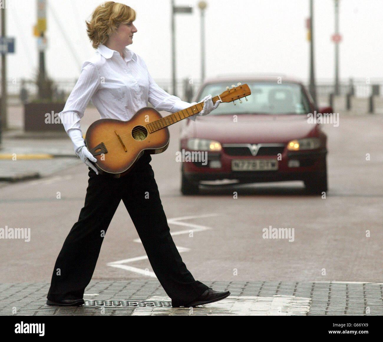 George Harrison - Egmond guitar - Stock Image