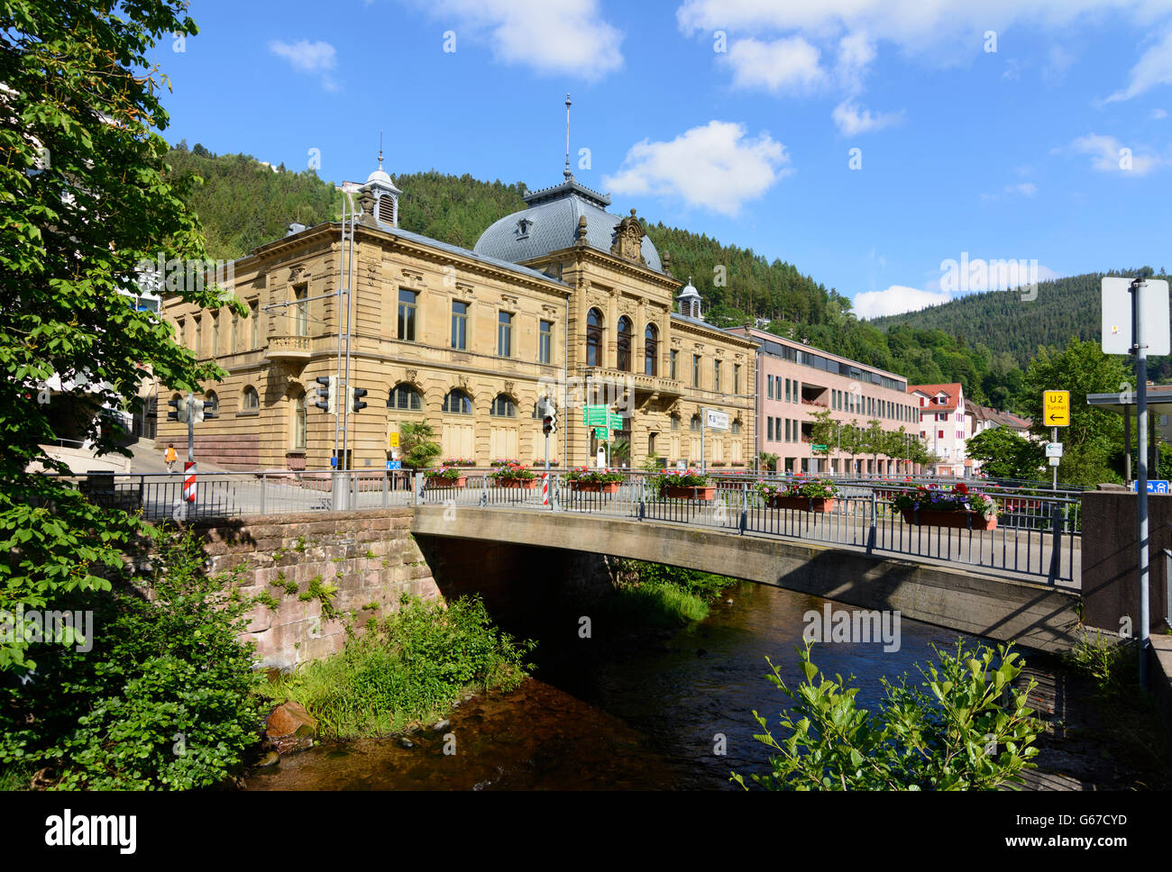 spa König-Karls-Bad at stream Große Enz, Bad Wildbad, Germany, Baden-Württemberg, Schwarzwald, Black - Stock Image