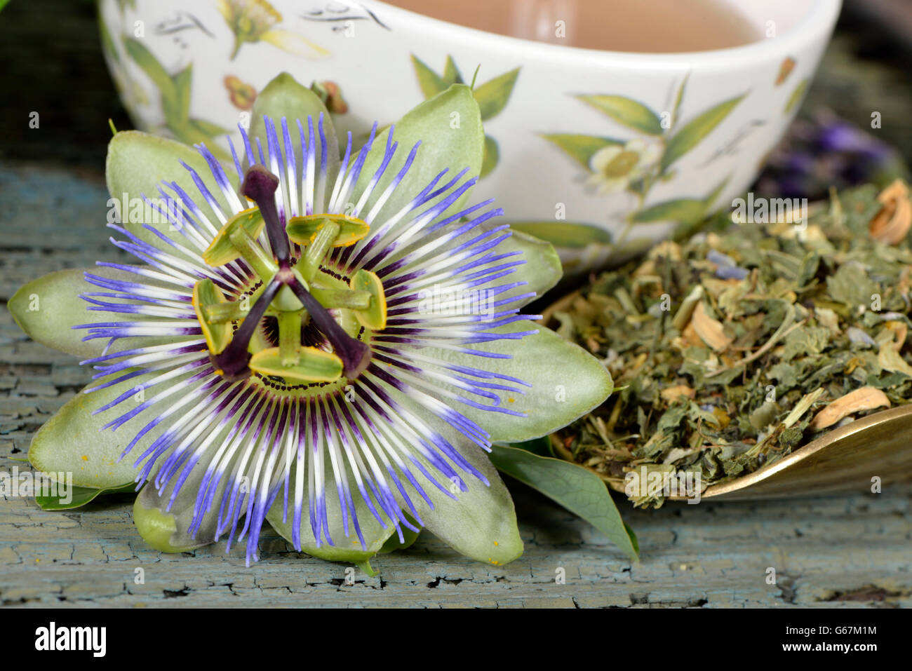 Nerves and calming tea, Sweet orange blossom, Balm, St John's wort, Amber, Lavender, Hop, Passion flower herb / - Stock Image