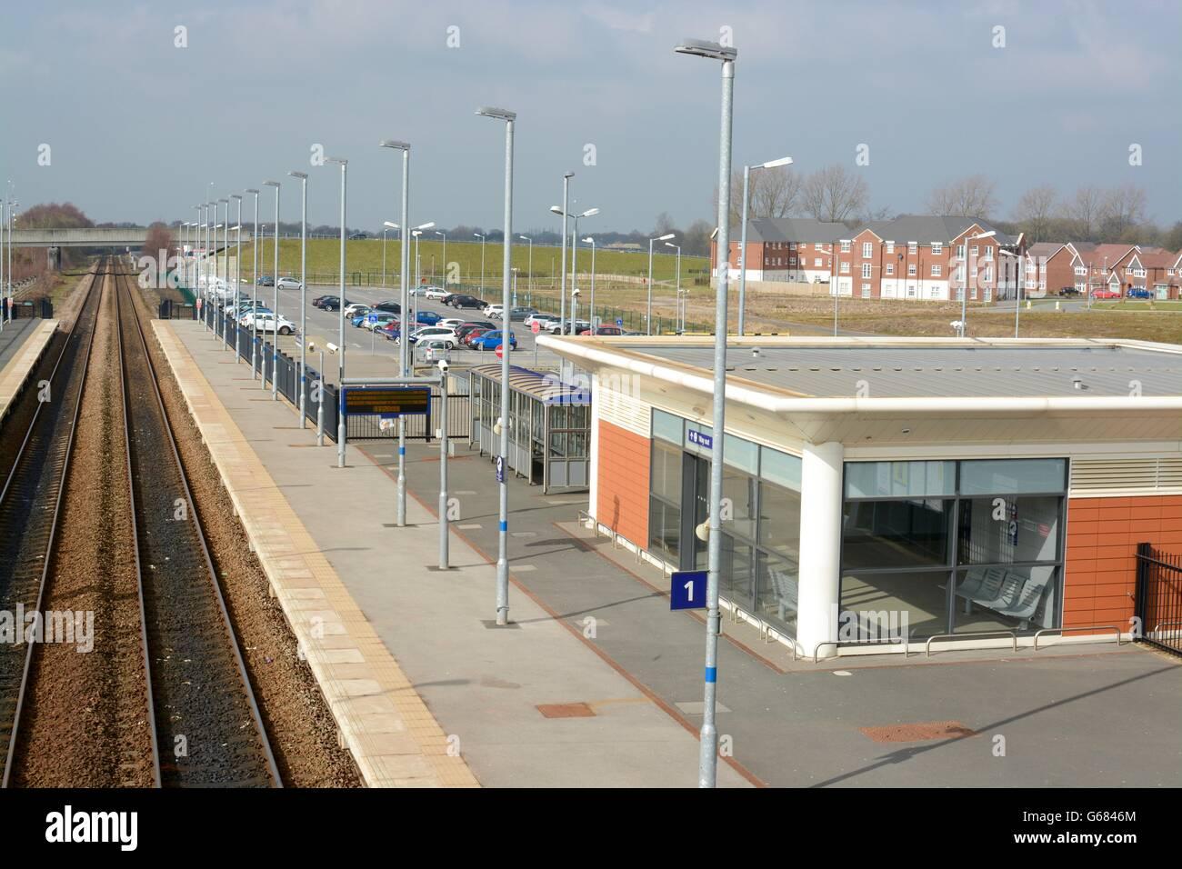Buckshaw village railway station, Euxton, Lancashire, UK - Stock Image