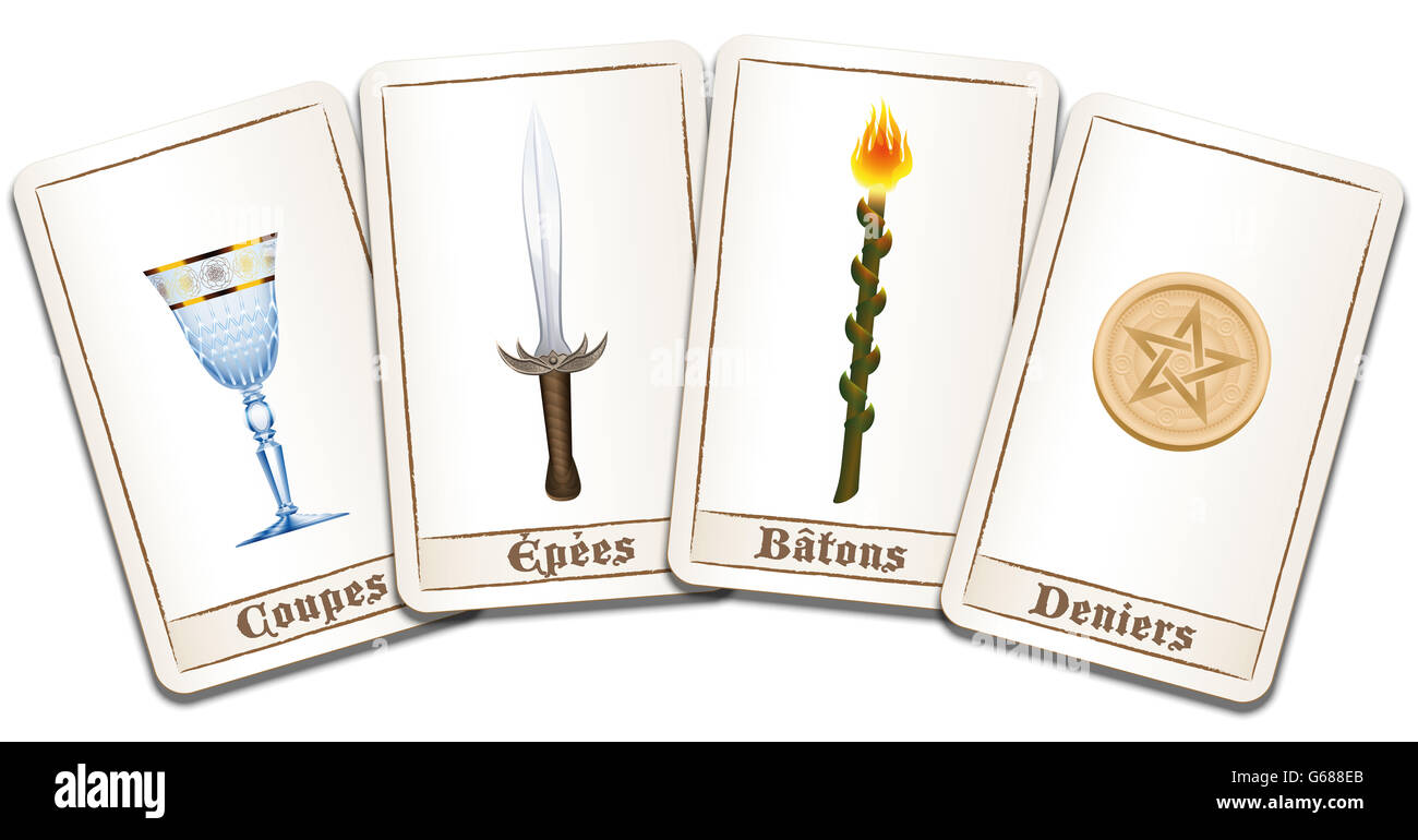 Tarot Cards French Names Of The Symbols Cups Swords Wands Stock