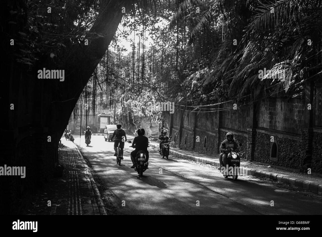 Ubud, Indonesia - September 5: A typical street scene in Ubud, Bali, Indonesia - Stock Image