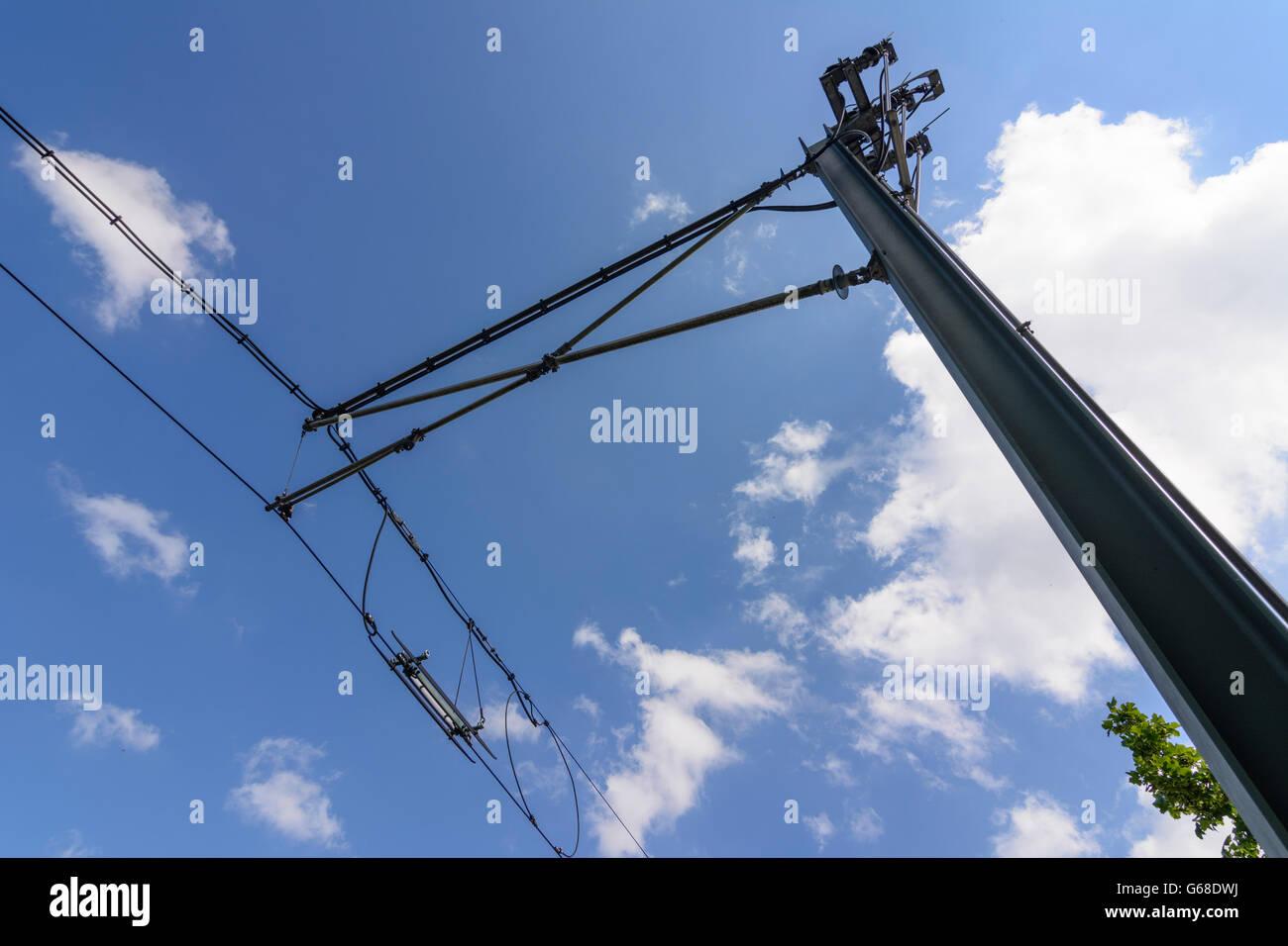 Catenary pole with catenary separators of Karlsruhe light rail, Bad Wildbad, Germany, Baden-Württemberg, Schwarzwald, Stock Photo