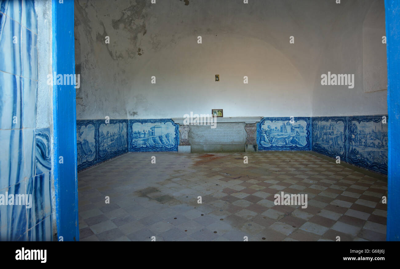 The interior of Memory Chapel (Ermida da Memória) covered in tile ...