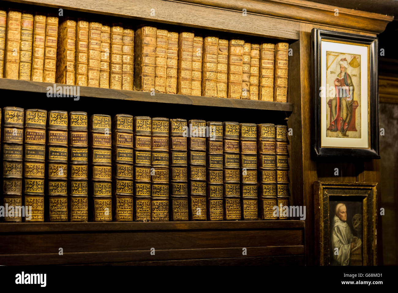 Old Books in a Wooden Bookshelf beside Old Portraits - Stock Image