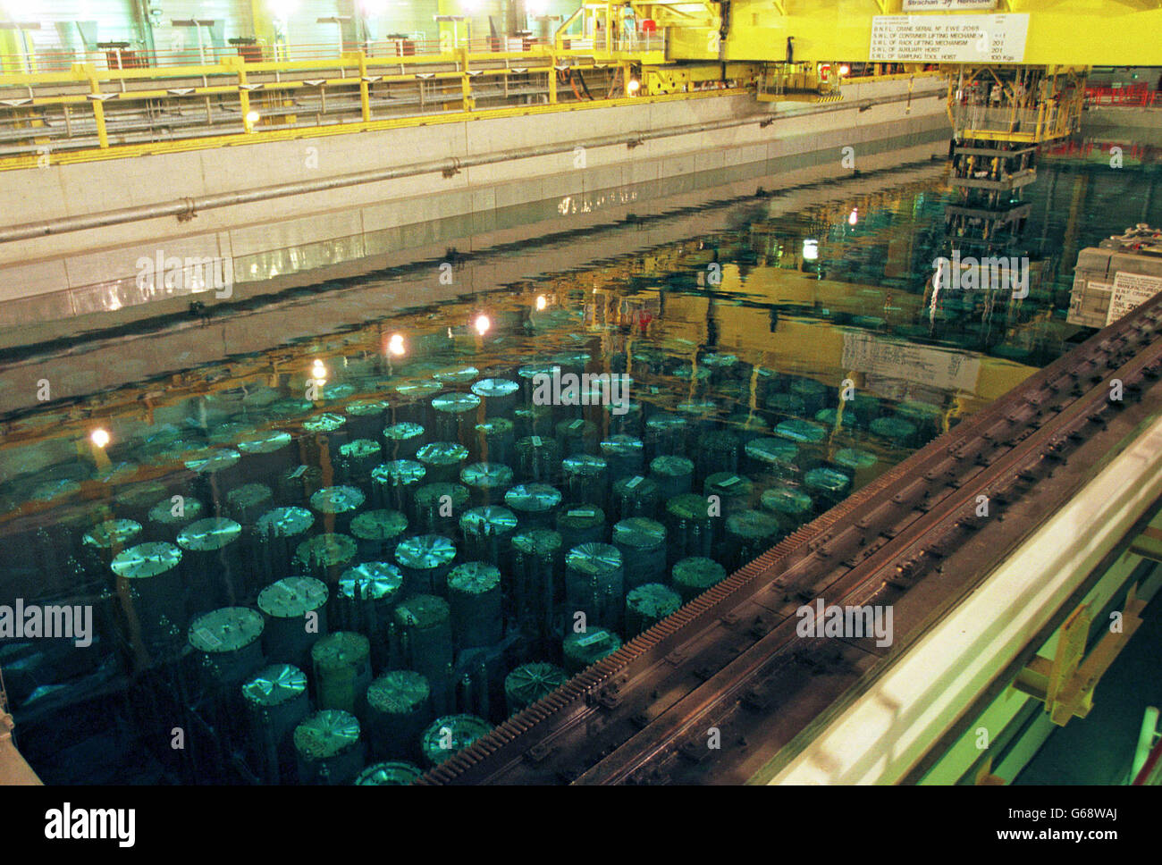 At the Thermal Oxide Reprocessing Plant (THORP) at Sellafield, the storage pond contains rows of huge 'bottles' - Stock Image