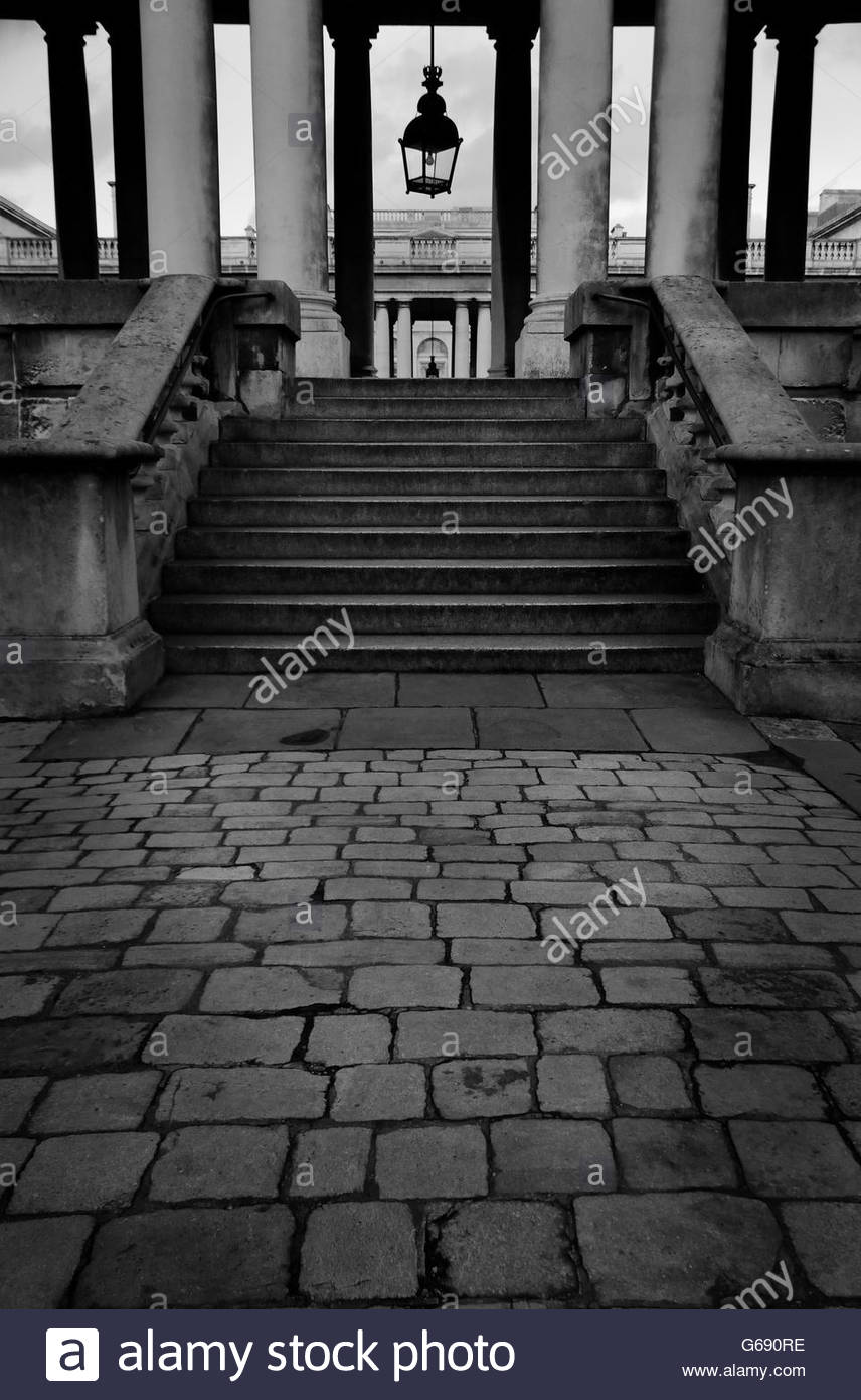 Steps up to Royal Naval College in Greenwich, London (II) - Stock Image