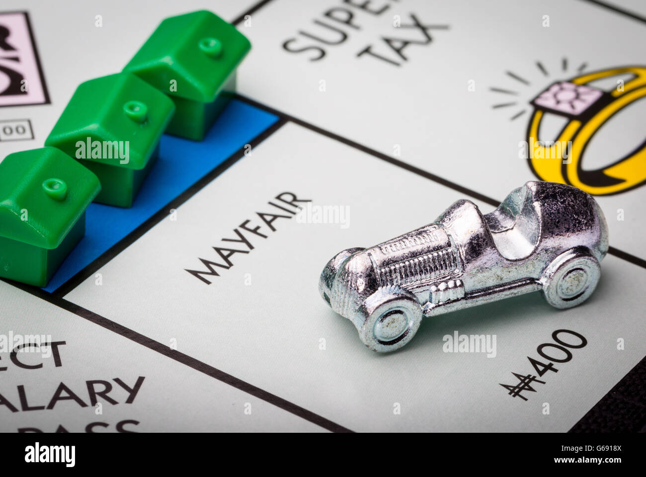Mayfair on the Monopoly board game - Stock Image