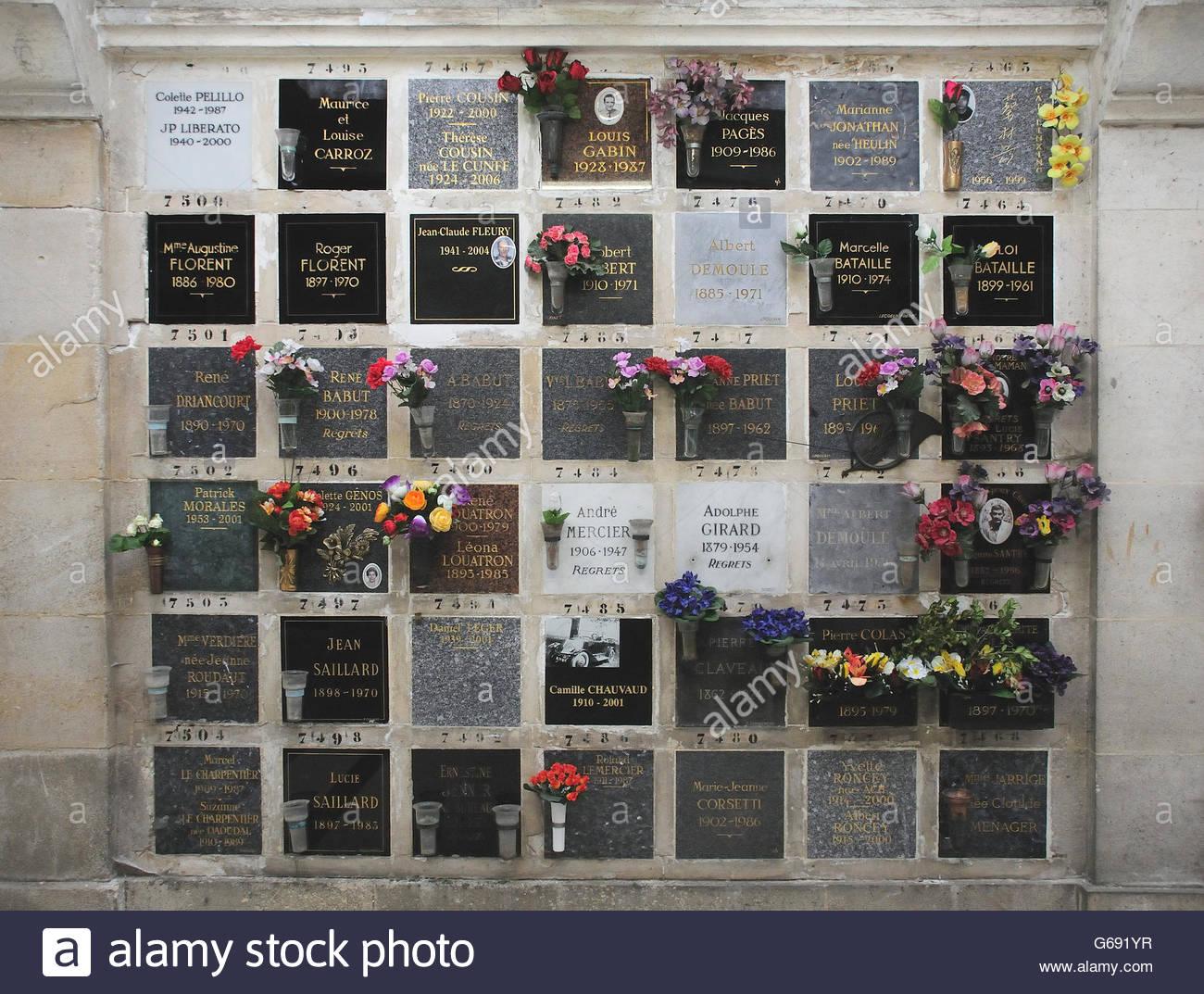Plaques in the crematorium holding ashes. Pere Lachaise cemetery in Paris Stock Photo