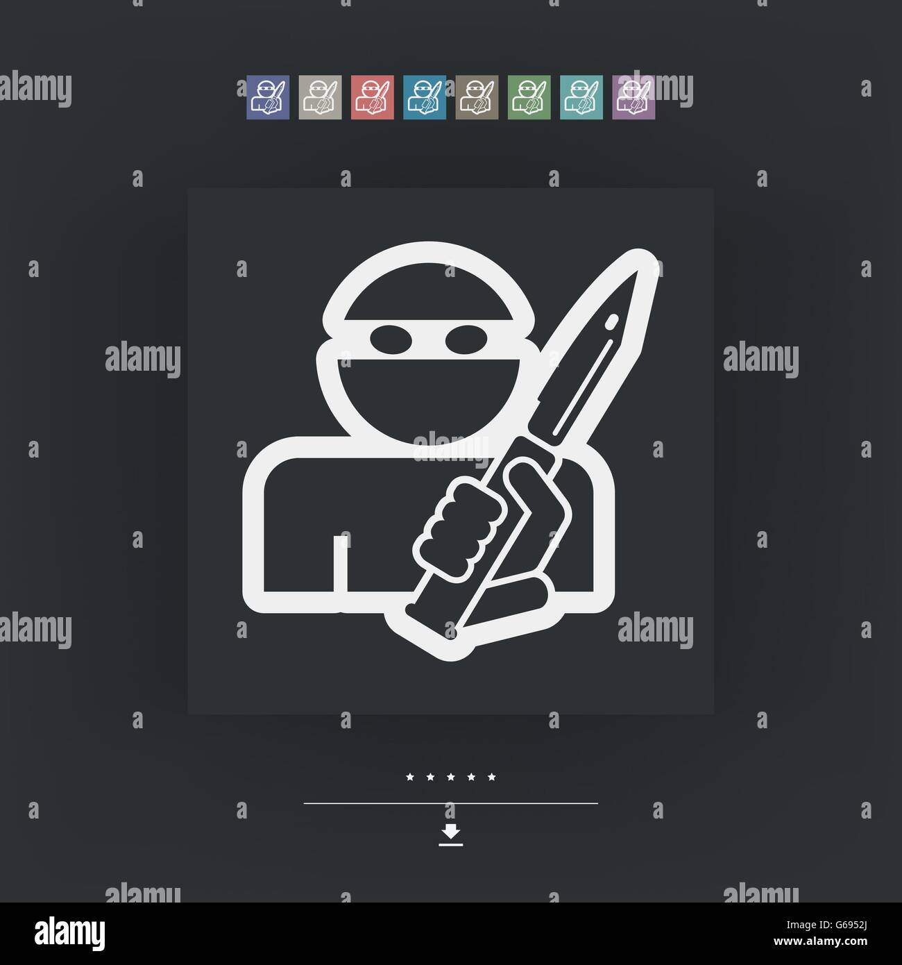 Robber aggression - Stock Vector