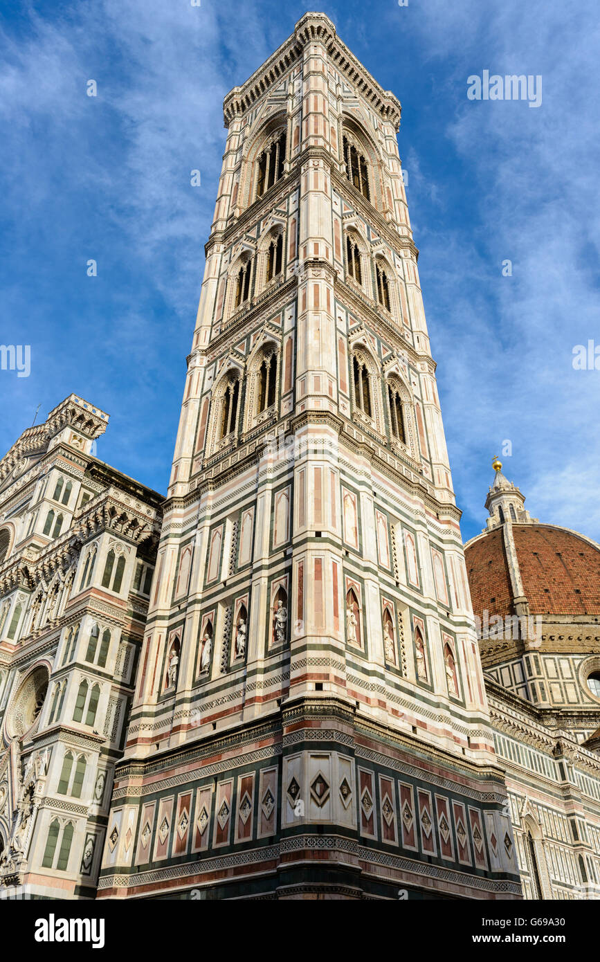 Florence, Italy - June 2015 - Giotto's Campanile adjacent to the Basilica of Santa Maria del Fiore. Stock Photo