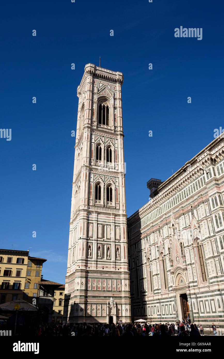 Florence, Italy - June 24 2015 - Giotto's Campanile adjacent to the Basilica of Santa Maria del Fiore. Stock Photo