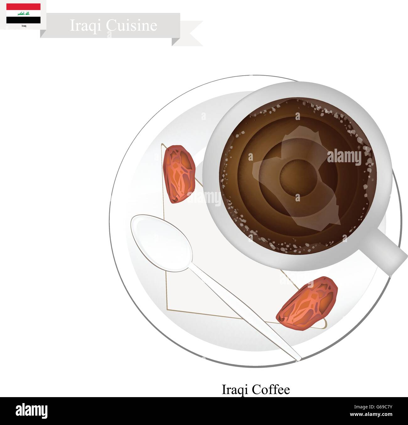 Iraqi Cuisine, Iraqi Coffee or Coffee Brewed from Dark Roast Coffee Beans Spiced with Cardamom. One of The Popular - Stock Vector