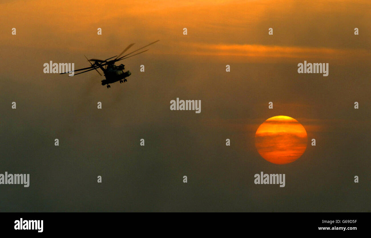 Second Gulf War - The Royal Navy - Helicopters - Sea Stallion - 2003 - Stock Image