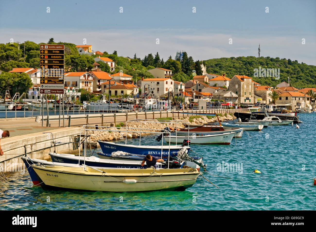 Causeway to Rogoznica island, near Split, Croatia. - Stock Image