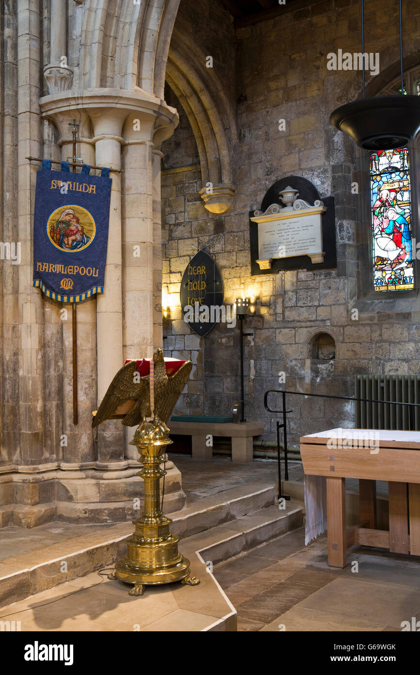 UK, County Durham, Hartlepool Headland, St Hilda's church, interior, lectern and piscina - Stock Image