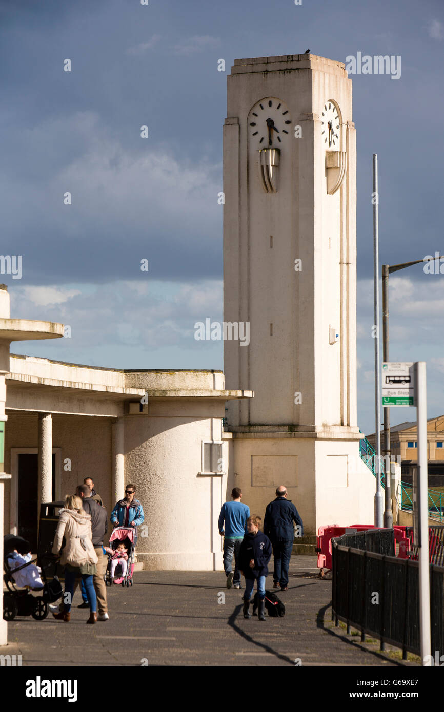 UK, County Durham, Hartlepool, Seaton Carew, newly restored art deco clock tower and bus stand - Stock Image