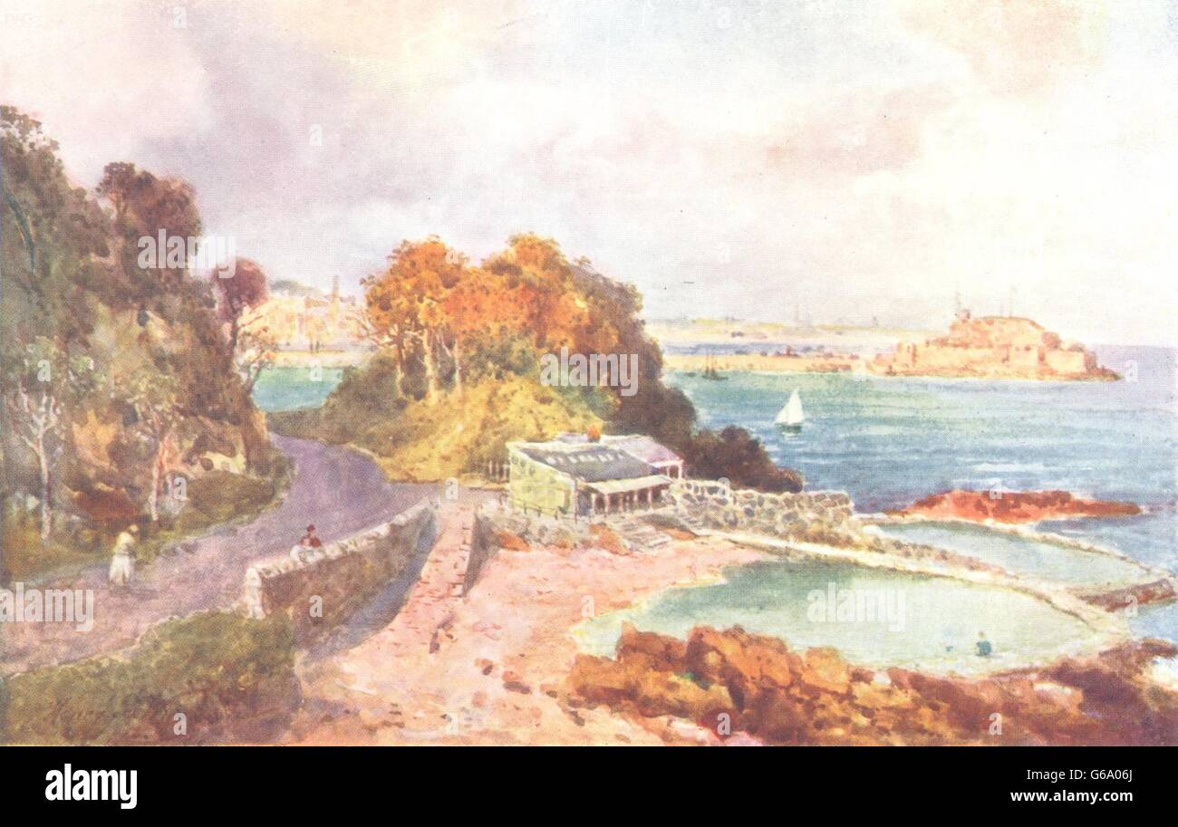 CHANNEL ISLANDS: Ladies bathing place, St. Peter-Port, Guernsey, print 1904 - Stock Image