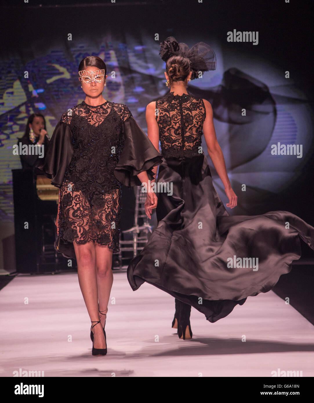Latin models show designs in Bogotá Fashion Week - Stock Image