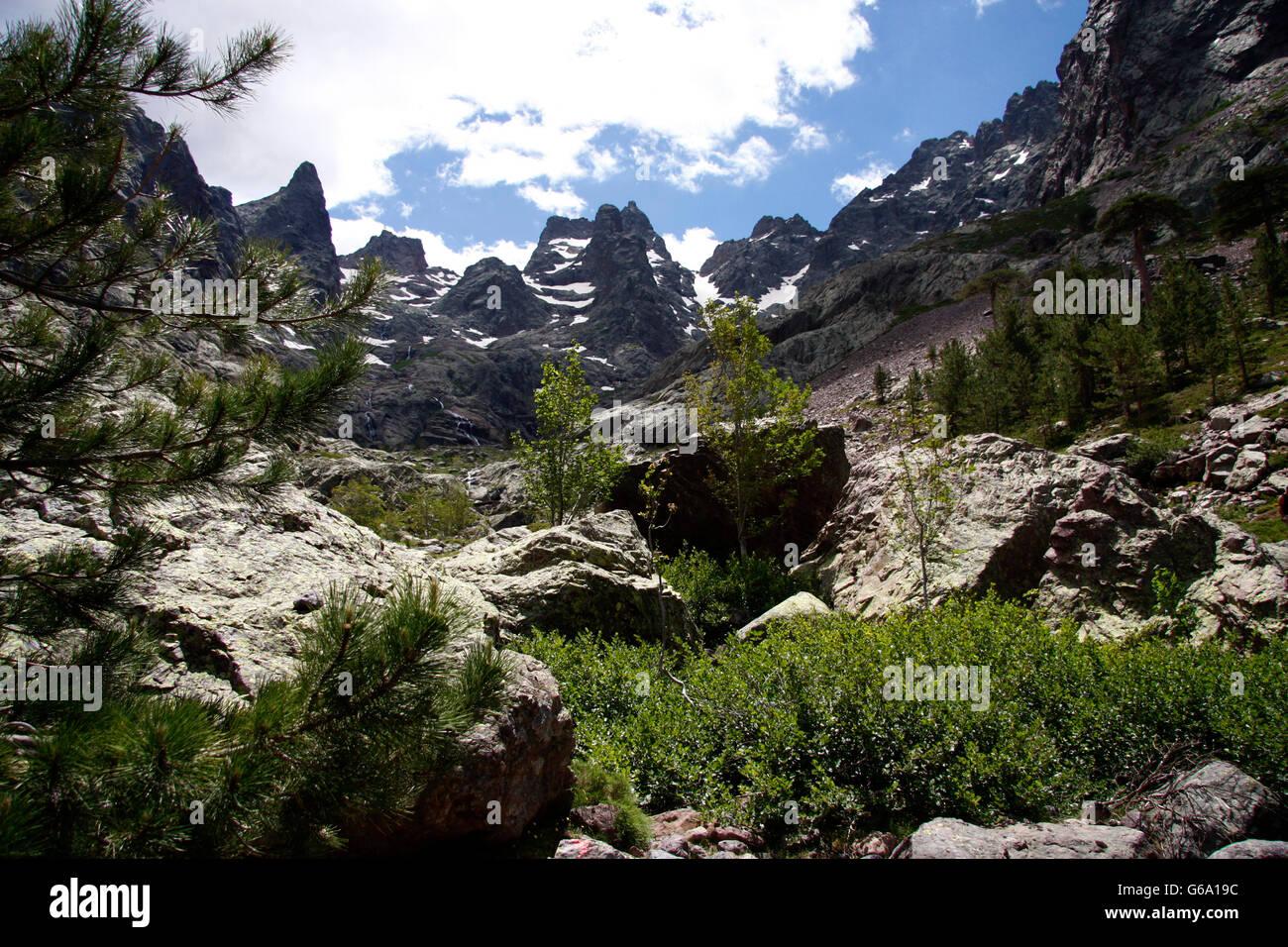 der hoechste Berg Korsikas, der Monte Cinto, Korsika, Frankreich. - Stock Image