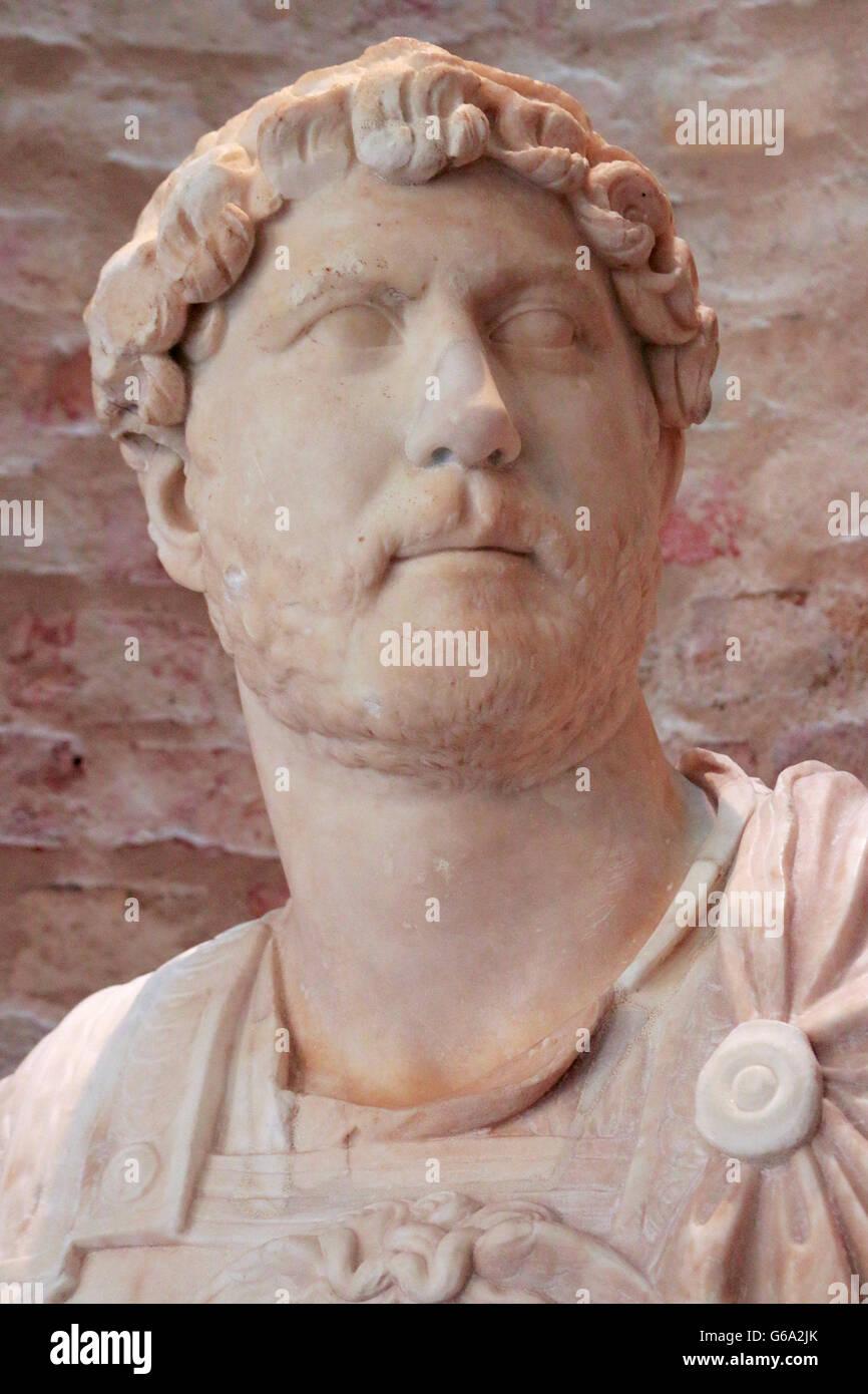 Skulptur/ Bueste: Hadrian, Berlin. - Stock Image