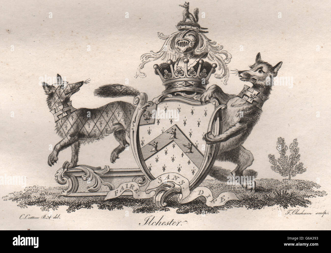 FLCHESTER: Coat of Arms. Heraldry, antique print 1790 - Stock Image