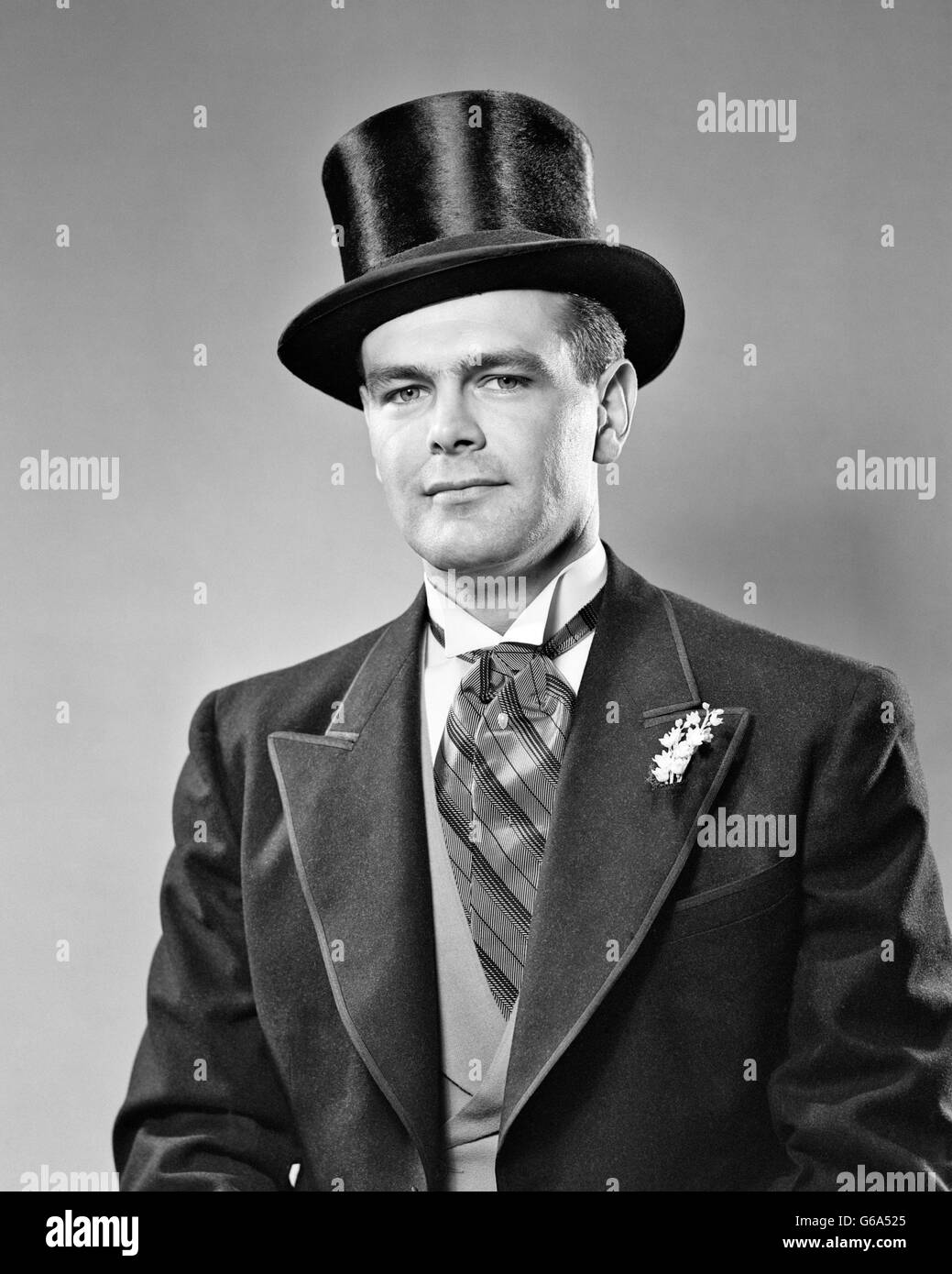 1940s 1950s Portrait Serious Bridegroom Wearing Ascot
