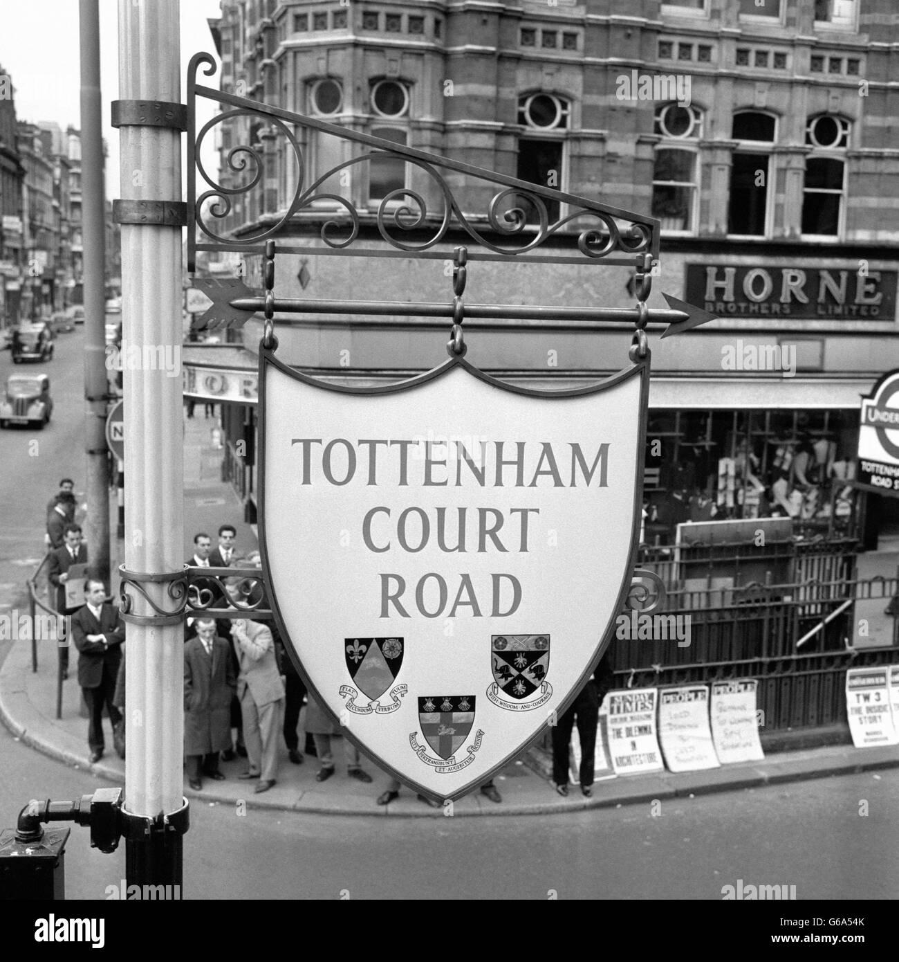 London Scenes - Tottenham Court Road - 1963 - Stock Image