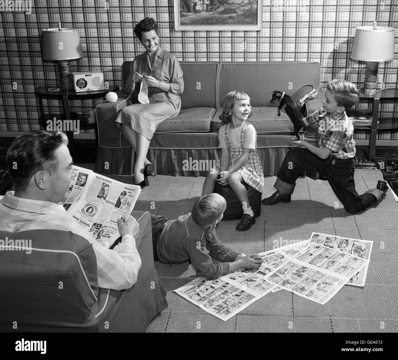 1950s Family 5 Living Room Kids On Floor Reading Comics