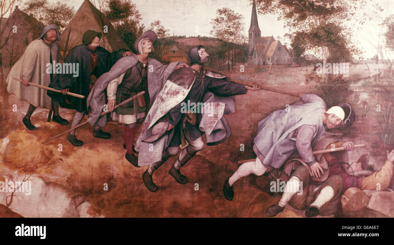 1500s 1568 THE PARABLE OF THE BLIND PIETER BRUEGEL THE ELDER BLIND LEADING THE BLIND MUSEO DI CAPODIMONTE NAPLES - Stock Image