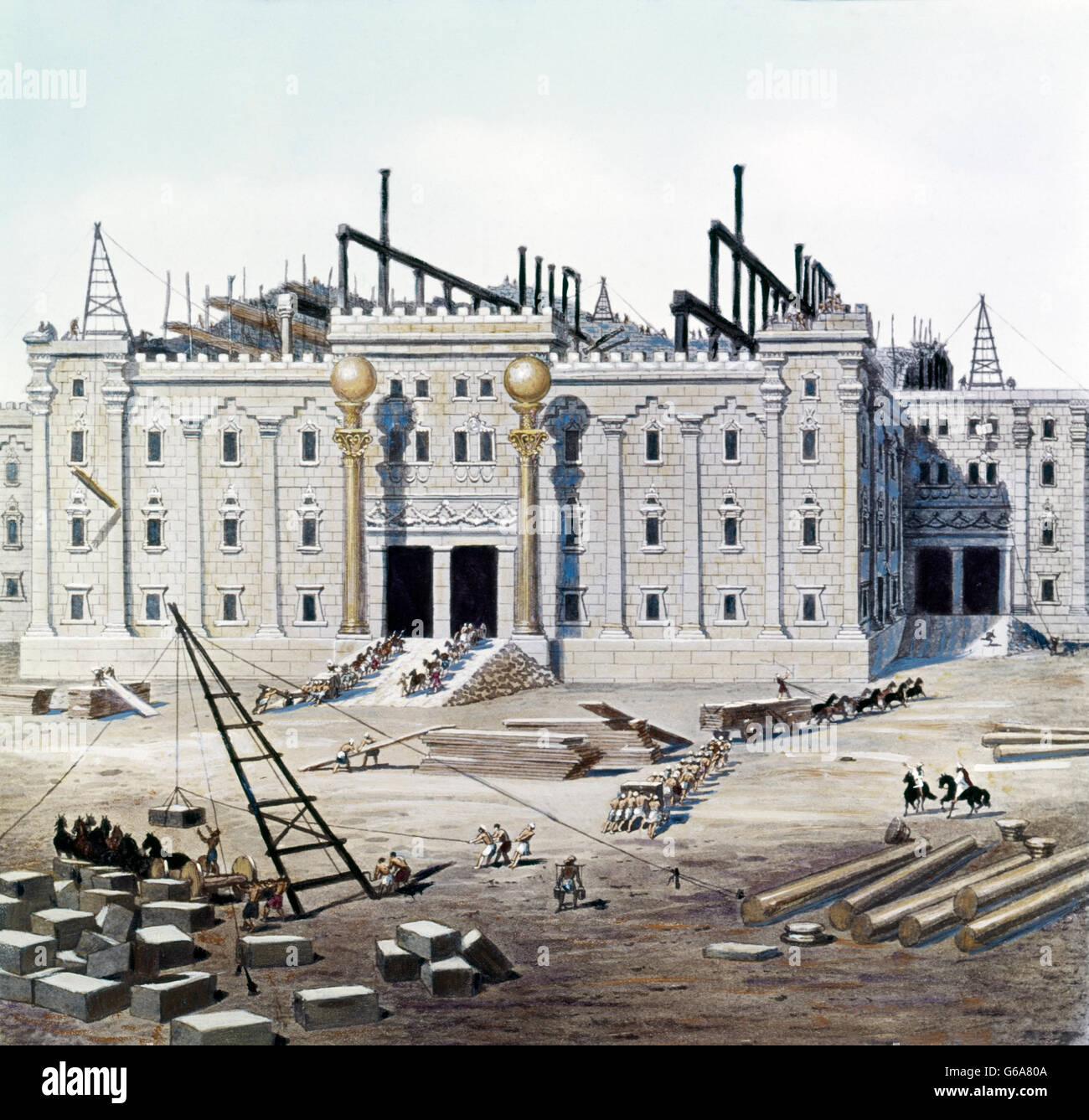 DEPICTING CONSTRUCTION OF KING SOLOMON'S TEMPLE PAINTING BY BEALE - Stock Image