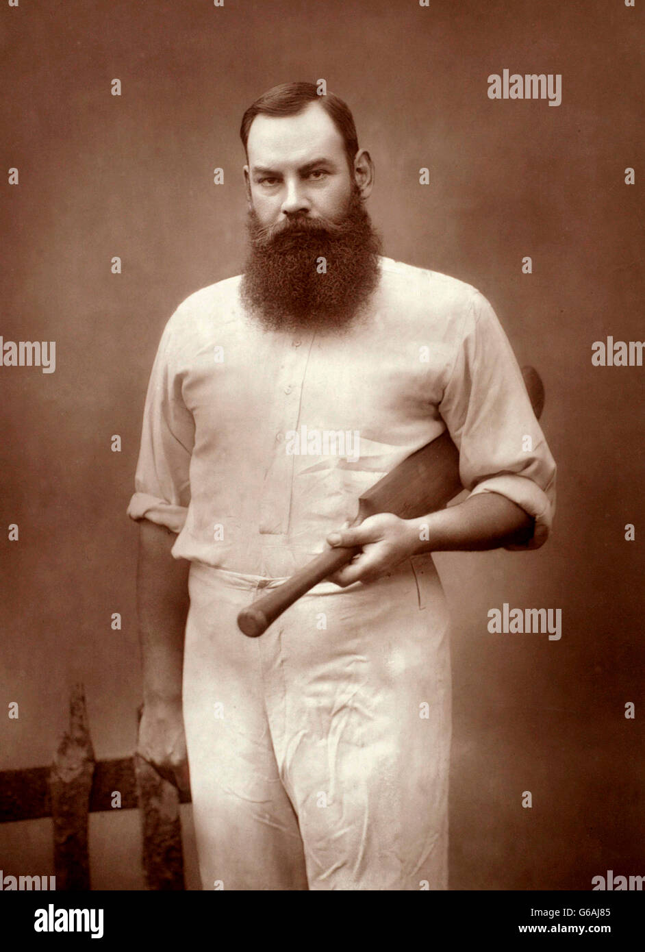 W. G. Grace, (William Gilbert Grace: 1848-1915), an English amateur cricketer who was important in the development - Stock Image