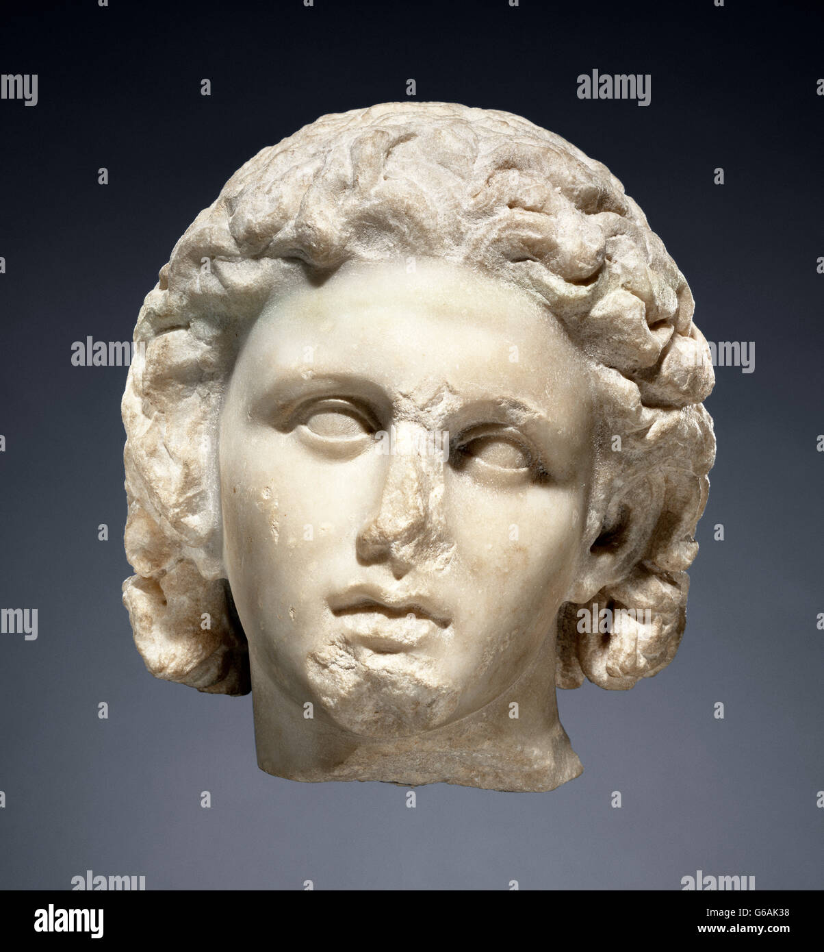 Alexander the Great. Marble head of Alexander the Great, c.320 BC - Stock Image