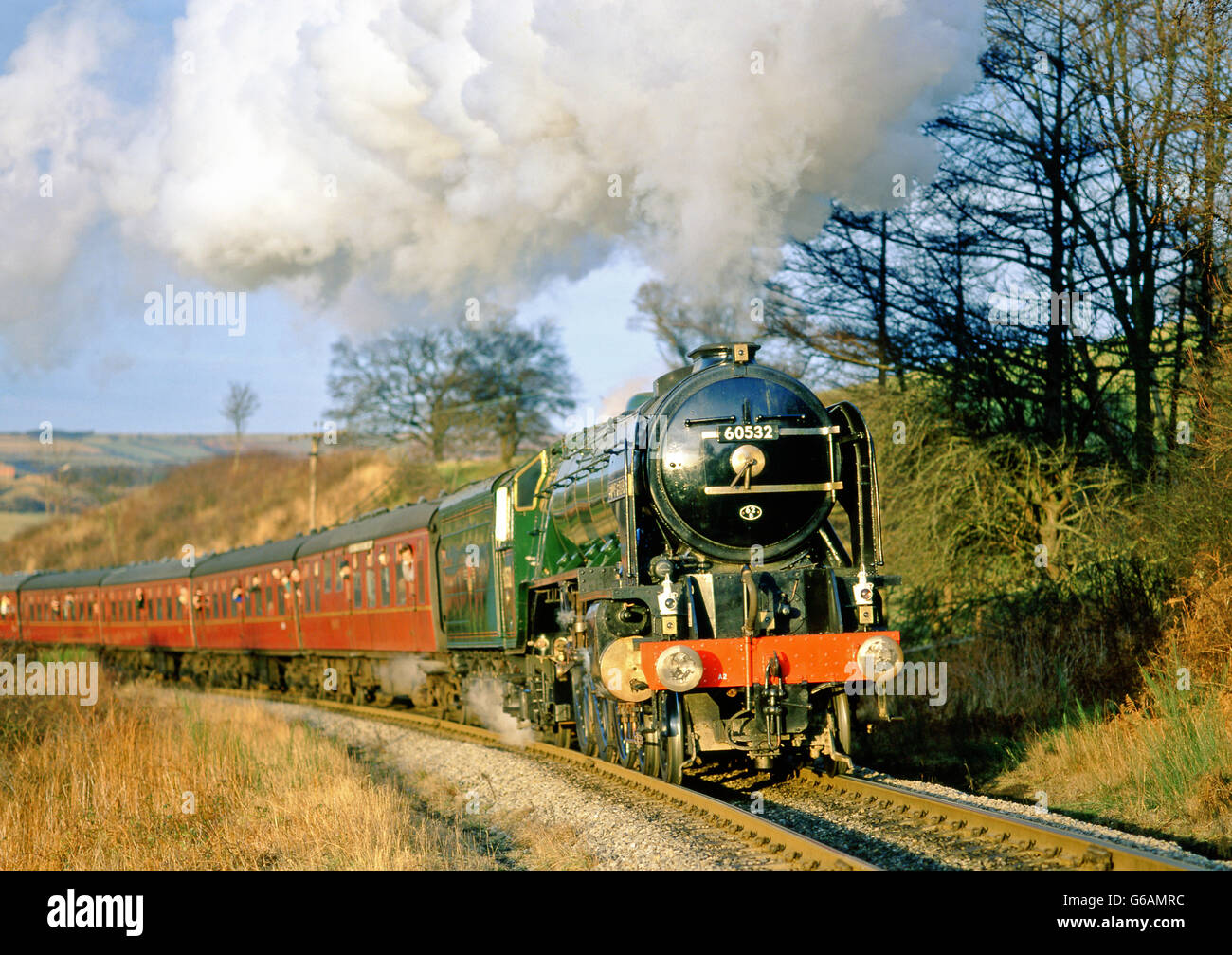 A2 Pacific No 60532 Blue Peter at Green End, North Yorkshire Moors Railway Stock Photo