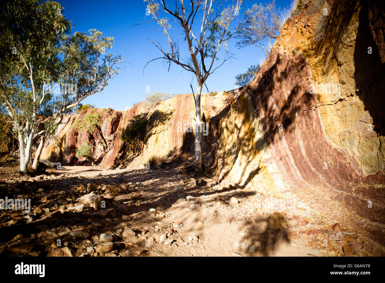A sacred Aborginal site of Ochre Pits near Alice Springs in the Northern Territory, Australia - Stock Image