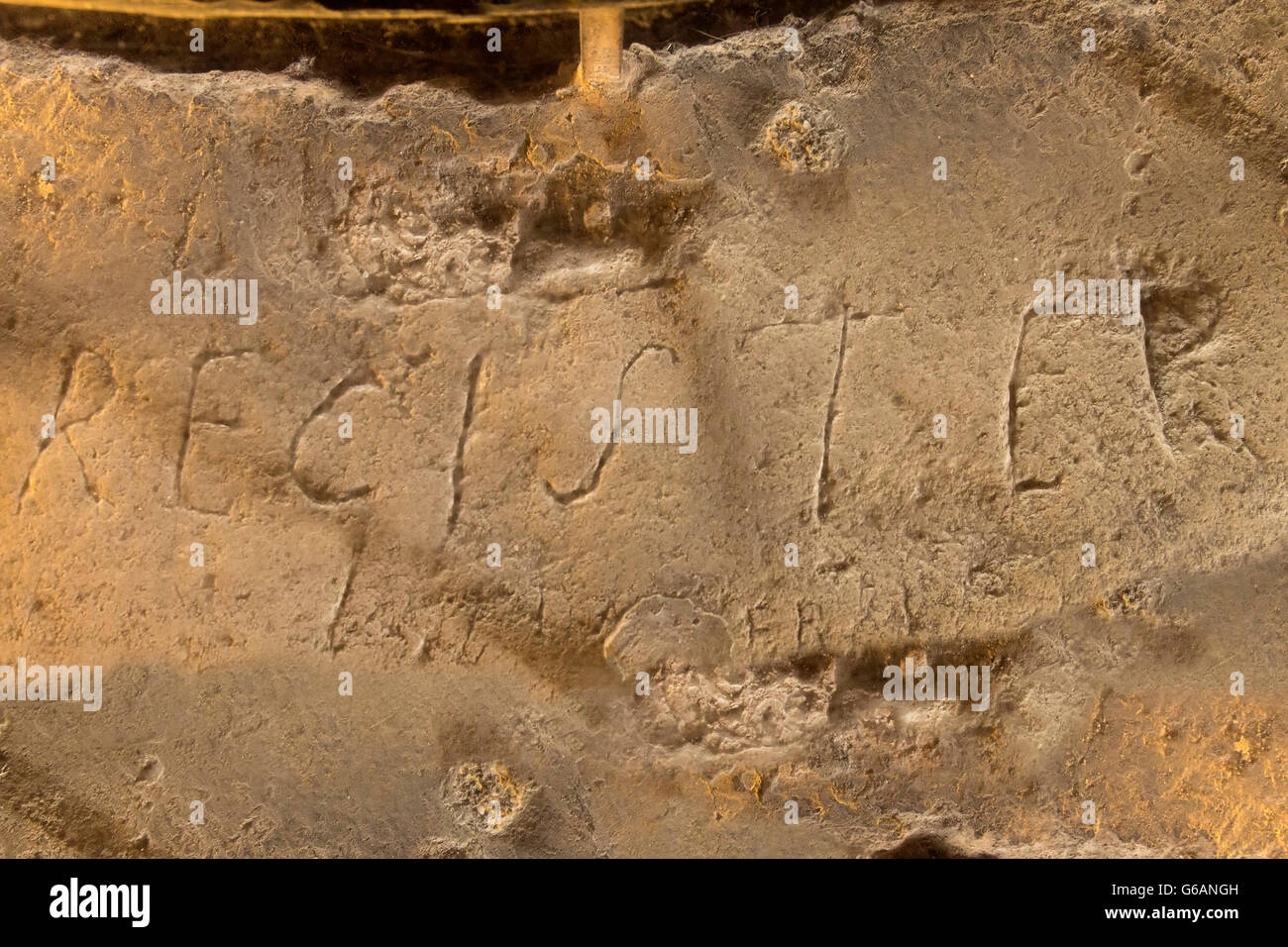 Resiter, graffiti by Marie Durand, Constance tower, Aigues Mortes, Gard, France - Stock Image