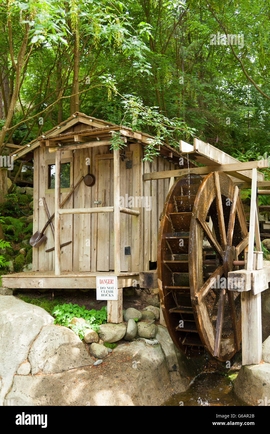A functioning water wheel in Vancouver, Canada - Stock Image